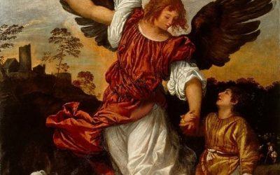École de Titien. Tobie et l'Ange. XVIème siècle